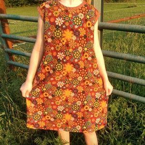 Boho Hippie Vintage-style Autumn Floral Girl Dress